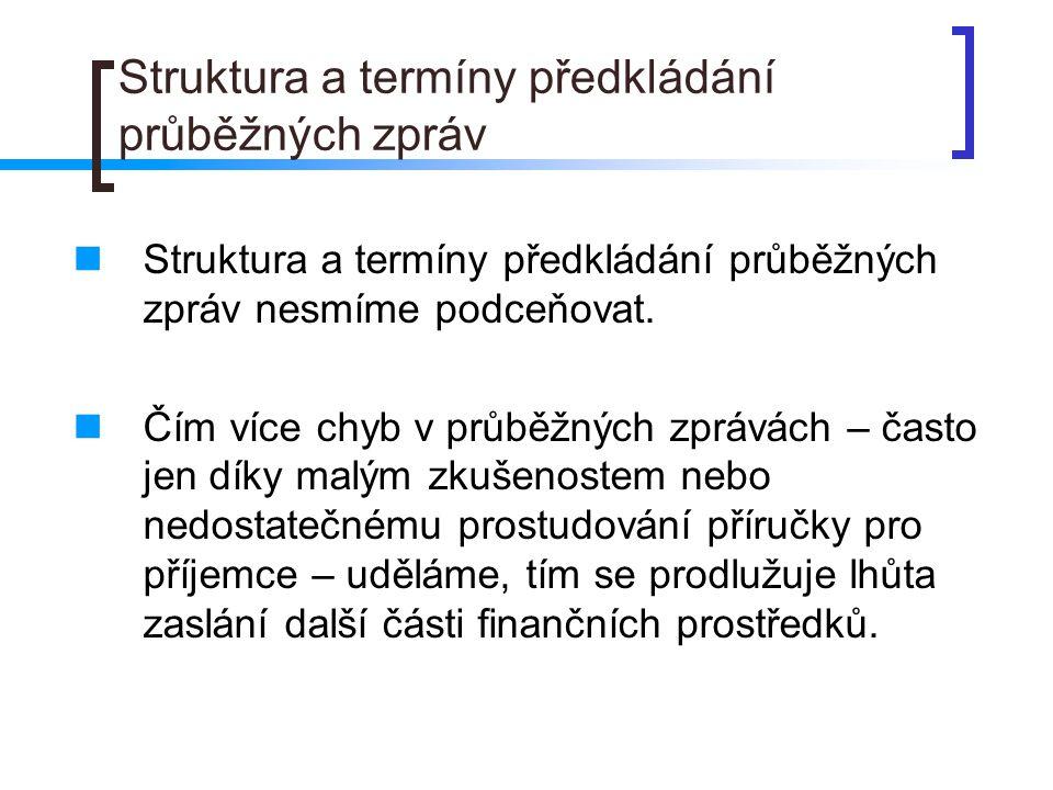 Struktura a termíny předkládání průběžných zpráv