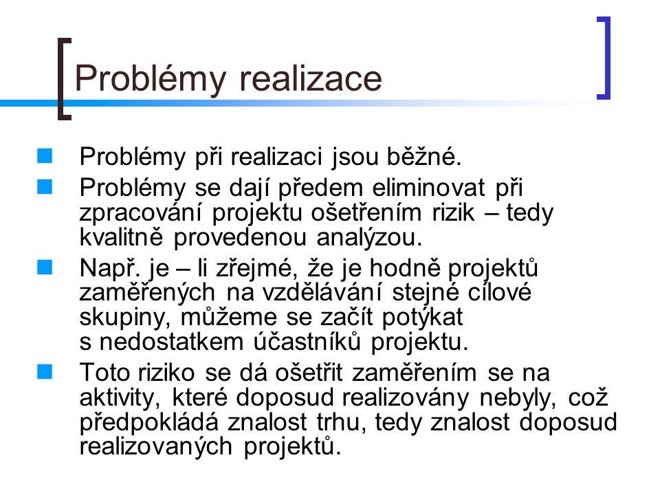Problémy realizace Problémy při realizaci jsou běžné.