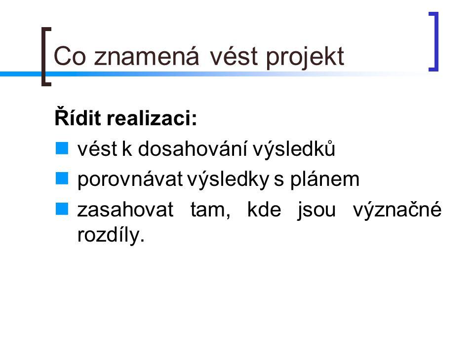 Co znamená vést projekt