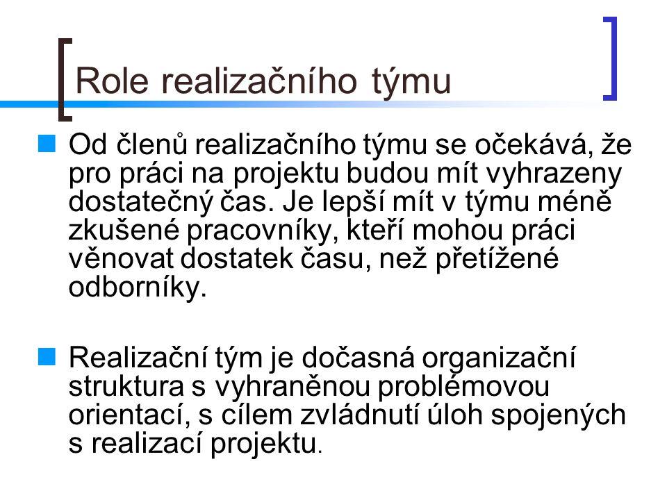 Role realizačního týmu