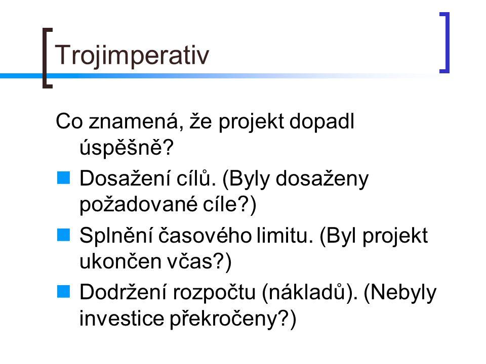 Trojimperativ Co znamená, že projekt dopadl úspěšně