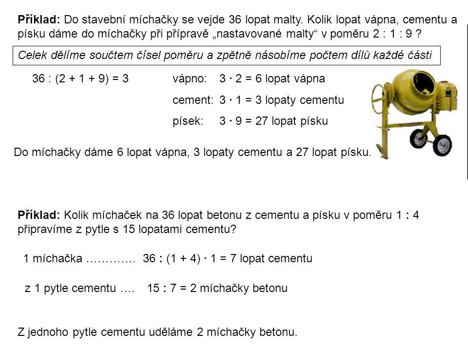 Příklad: Do stavební míchačky se vejde 36 lopat malty