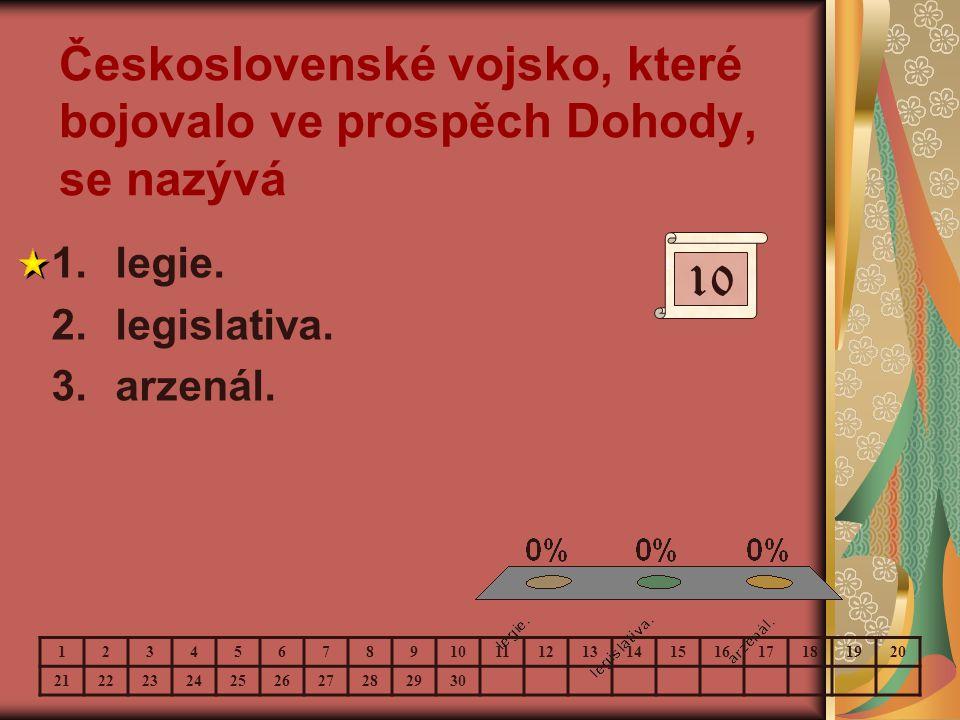 Československé vojsko, které bojovalo ve prospěch Dohody, se nazývá