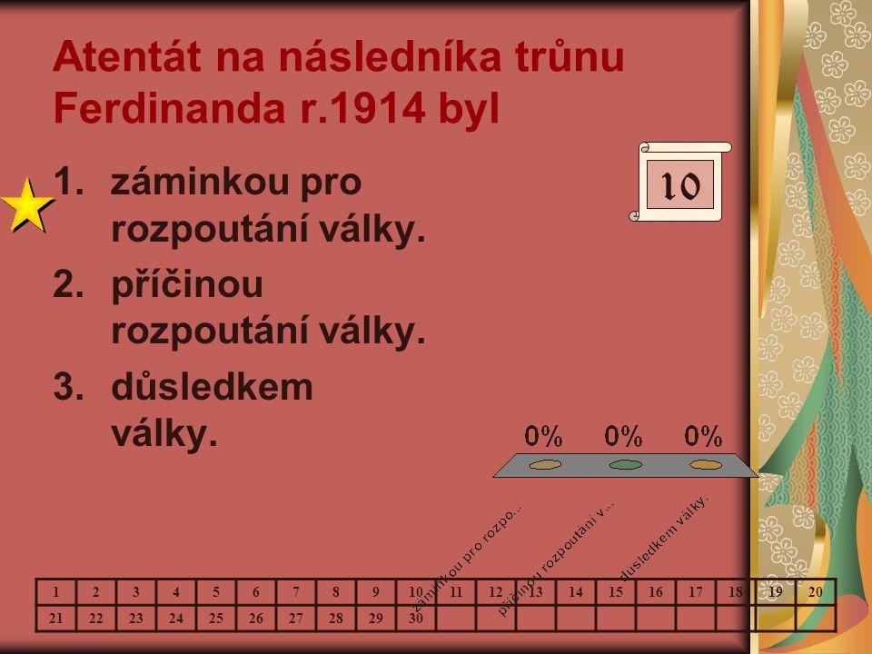 Atentát na následníka trůnu Ferdinanda r.1914 byl