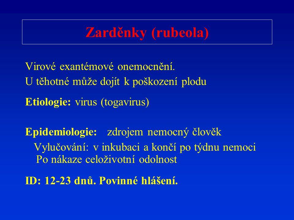 Zarděnky (rubeola) Virové exantémové onemocnění.