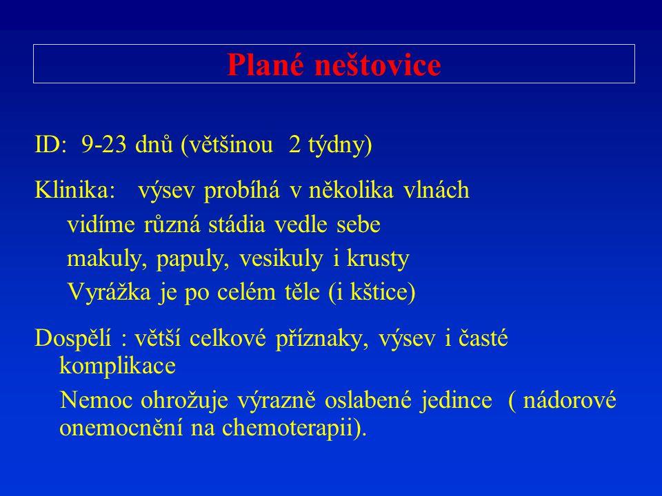 Plané neštovice ID: 9-23 dnů (většinou 2 týdny)