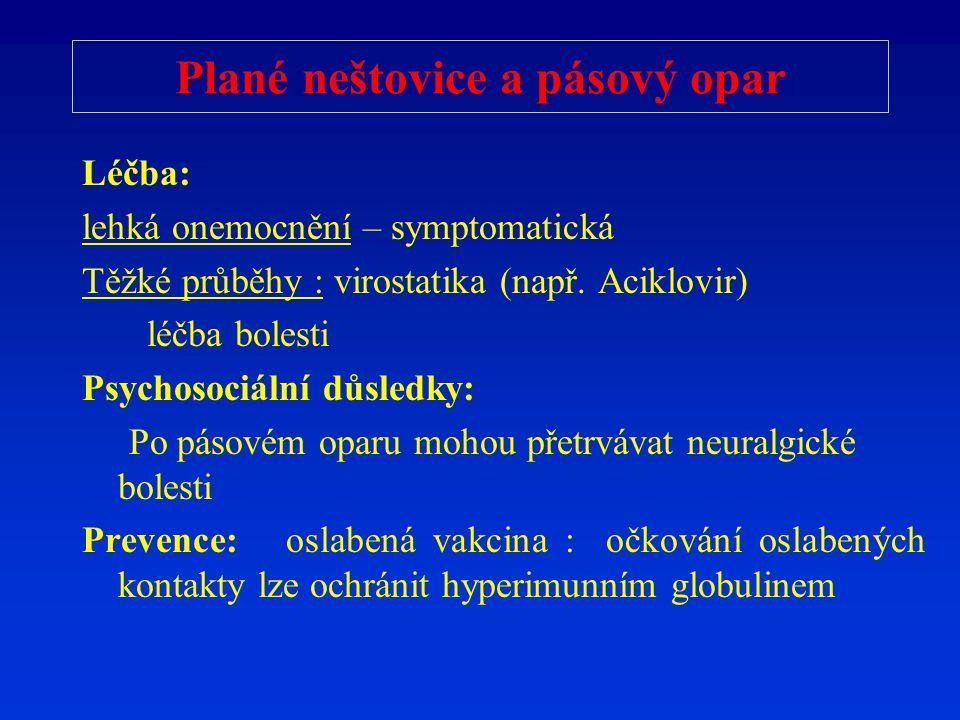 Plané neštovice a pásový opar