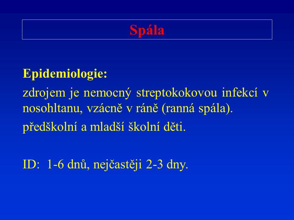 Spála Epidemiologie: zdrojem je nemocný streptokokovou infekcí v nosohltanu, vzácně v ráně (ranná spála).