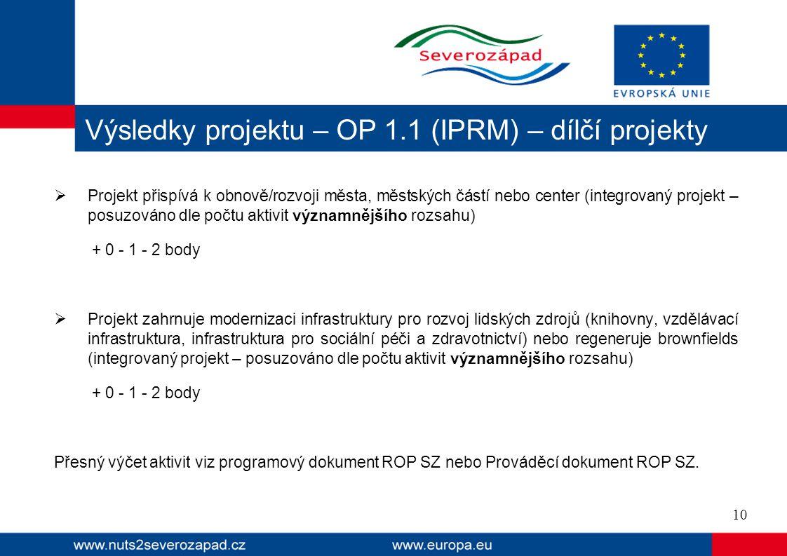 Výsledky projektu – OP 1.1 (IPRM) – dílčí projekty