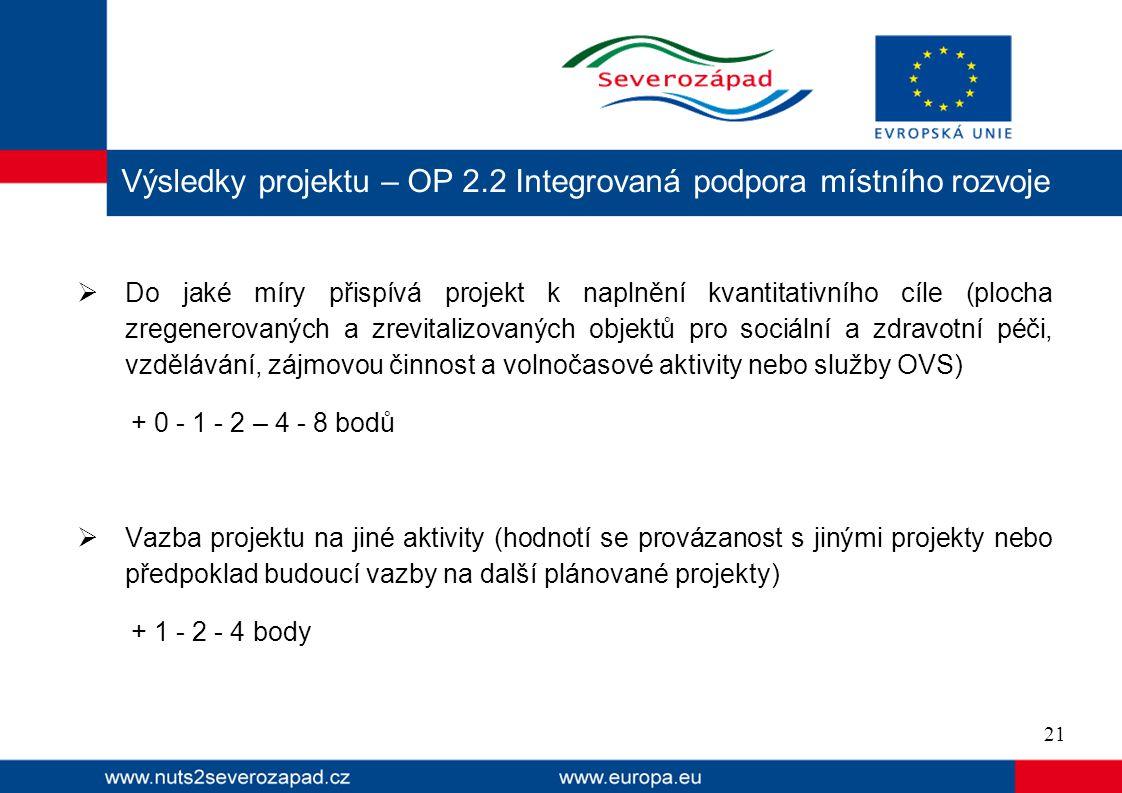 Výsledky projektu – OP 2.2 Integrovaná podpora místního rozvoje