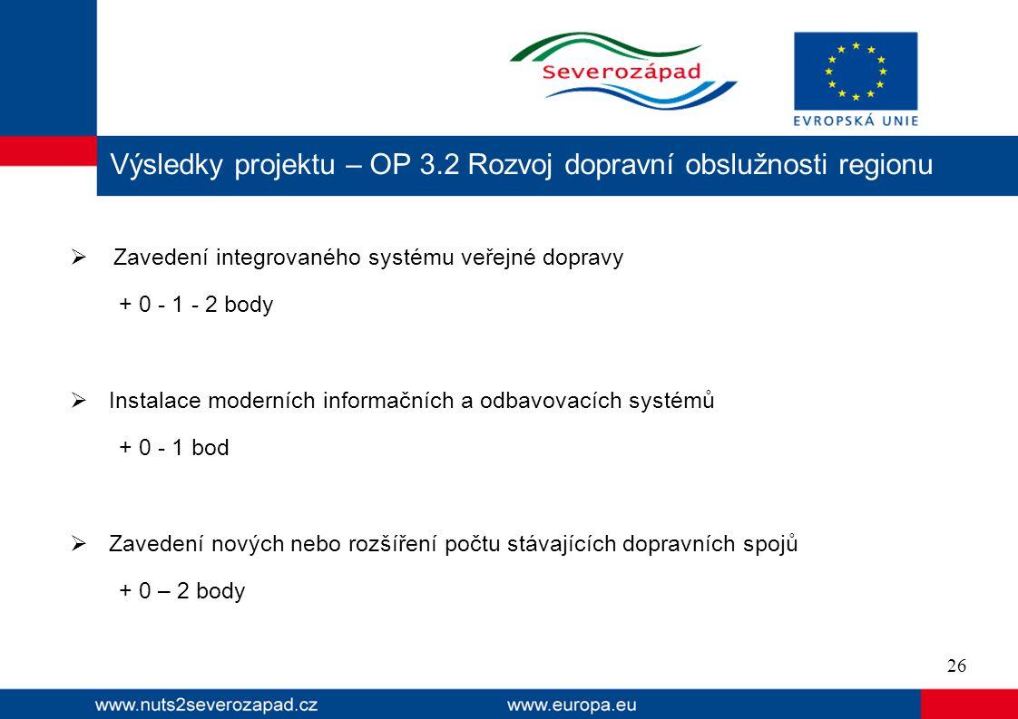 Výsledky projektu – OP 3.2 Rozvoj dopravní obslužnosti regionu