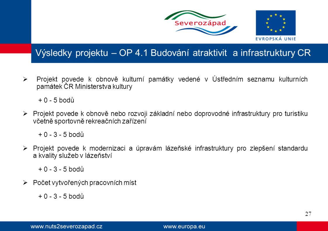Výsledky projektu – OP 4.1 Budování atraktivit a infrastruktury CR