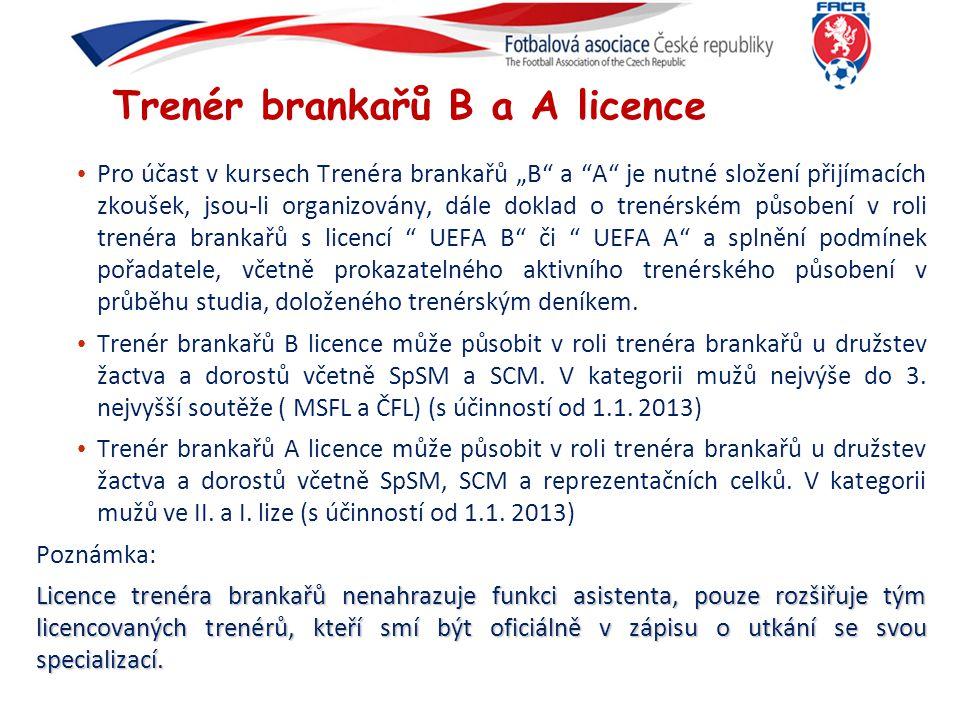 Trenér brankařů B a A licence