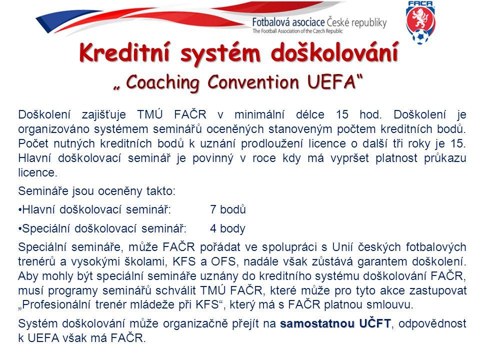 """Kreditní systém doškolování """" Coaching Convention UEFA"""