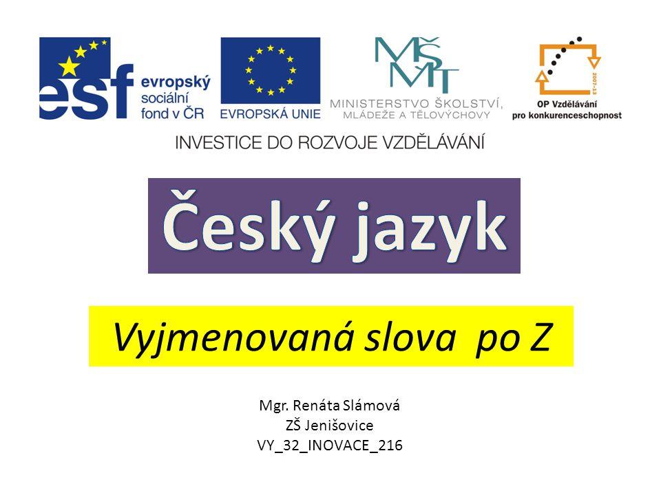 Český jazyk Vyjmenovaná slova po Z Mgr. Renáta Slámová ZŠ Jenišovice