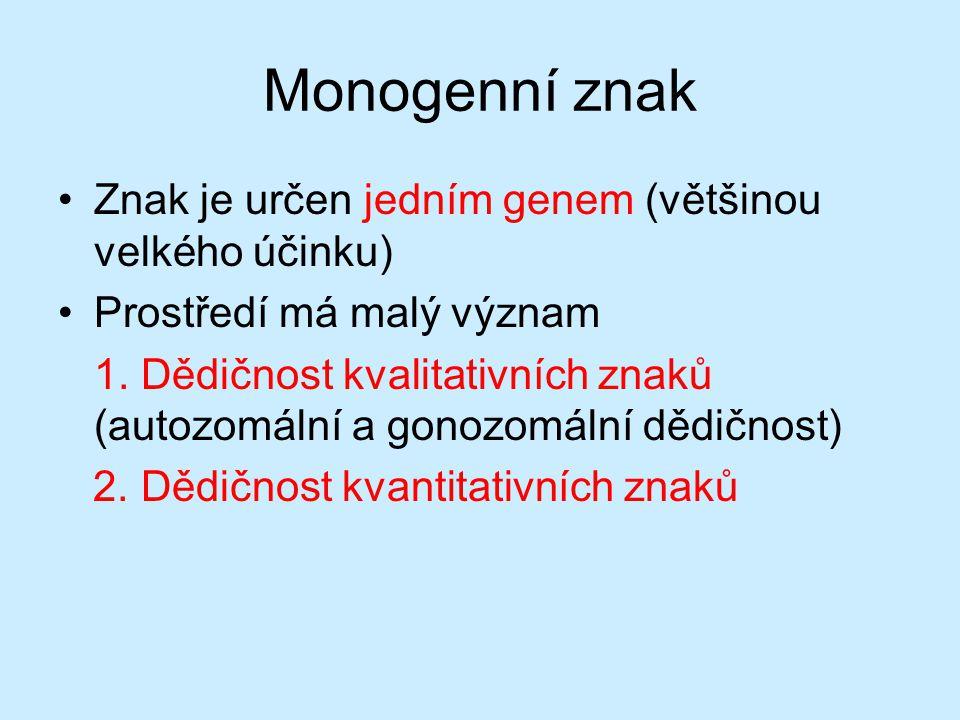 Monogenní znak Znak je určen jedním genem (většinou velkého účinku)