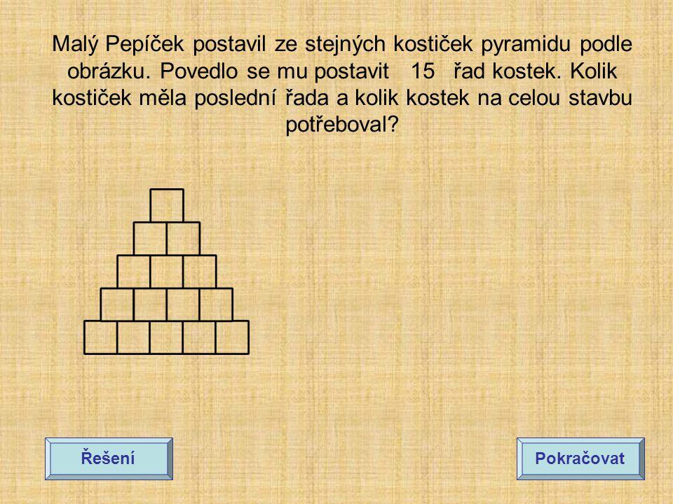Malý Pepíček postavil ze stejných kostiček pyramidu podle obrázku