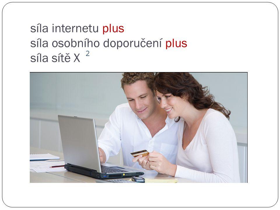 síla internetu plus síla osobního doporučení plus síla sítě X