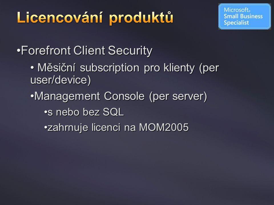Licencování produktů Forefront Client Security