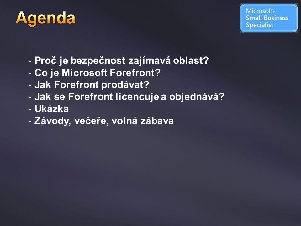 Agenda Proč je bezpečnost zajímavá oblast Co je Microsoft Forefront