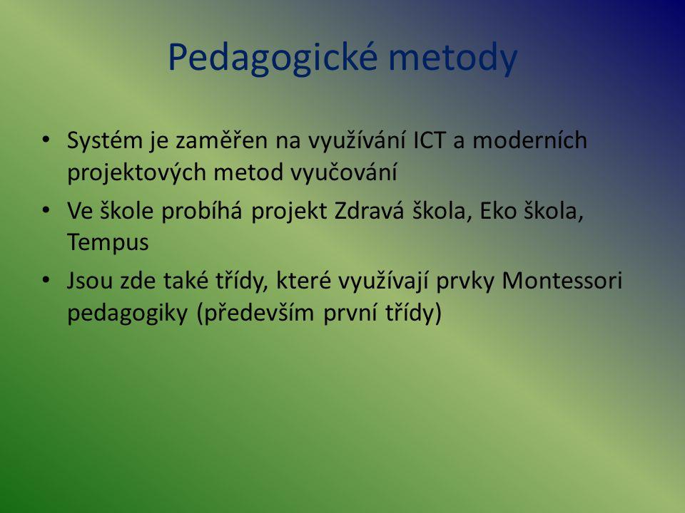 Pedagogické metody Systém je zaměřen na využívání ICT a moderních projektových metod vyučování.