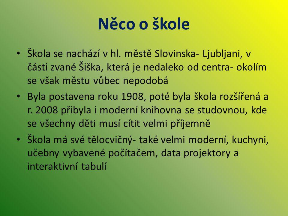 Něco o škole Škola se nachází v hl. městě Slovinska- Ljubljani, v části zvané Šiška, která je nedaleko od centra- okolím se však městu vůbec nepodobá.
