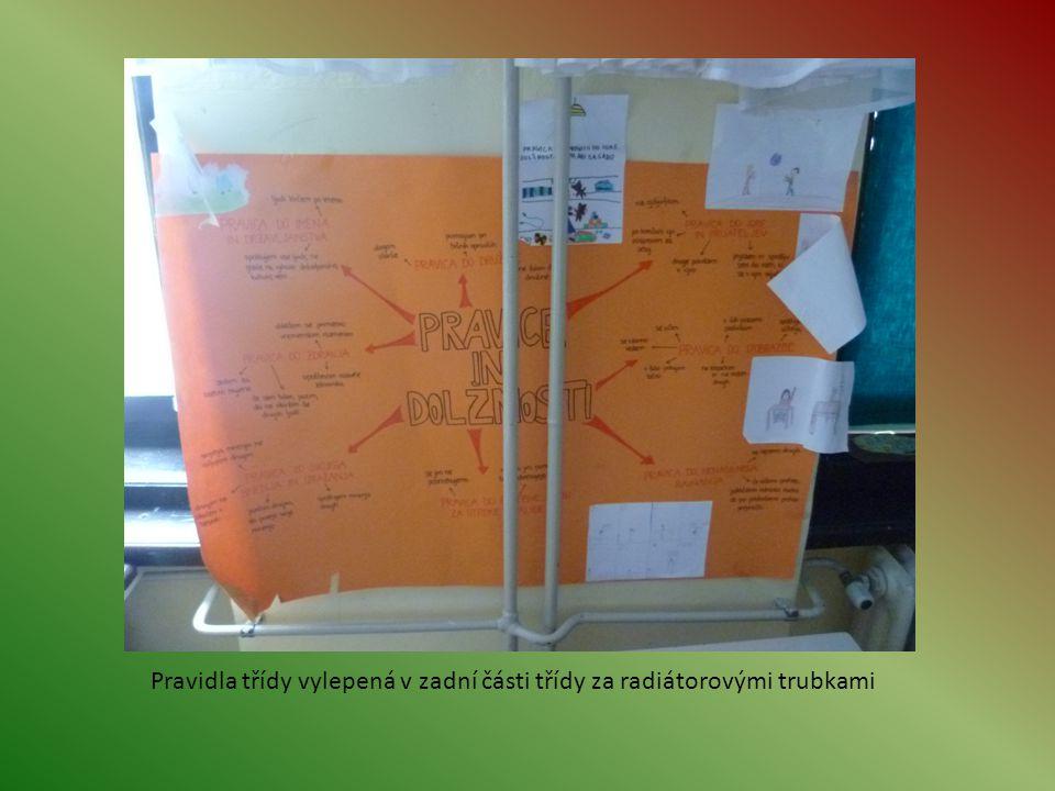 Pravidla třídy vylepená v zadní části třídy za radiátorovými trubkami