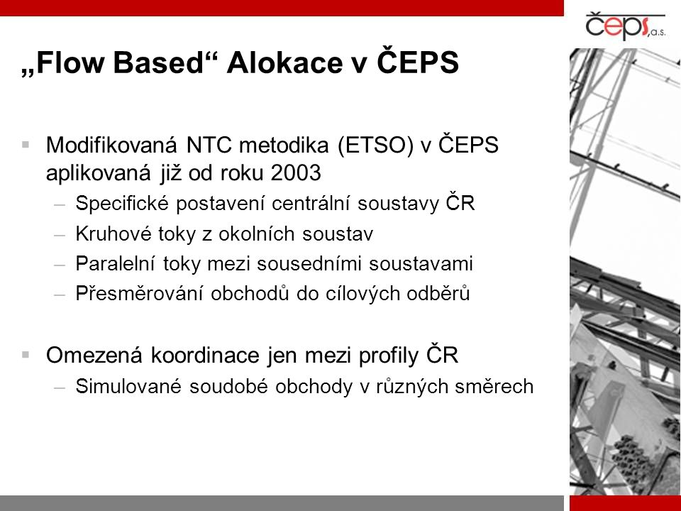 """Flow Based Alokace v ČEPS"