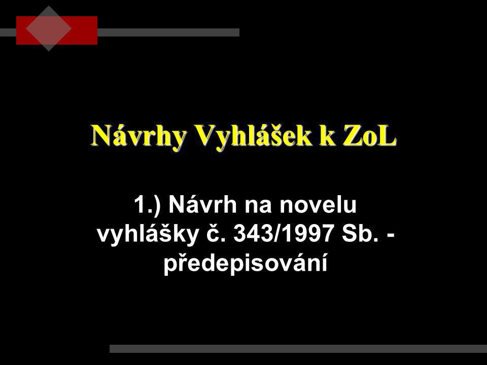 1.) Návrh na novelu vyhlášky č. 343/1997 Sb. - předepisování