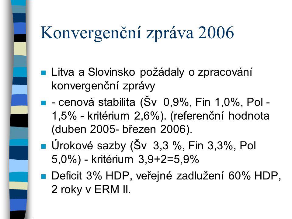Konvergenční zpráva 2006 Litva a Slovinsko požádaly o zpracování konvergenční zprávy.