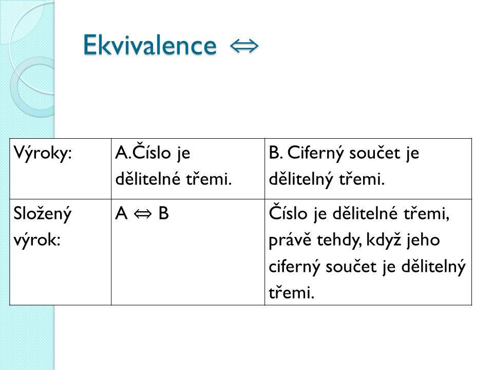 Ekvivalence ⇔ Výroky: A.Číslo je dělitelné třemi.