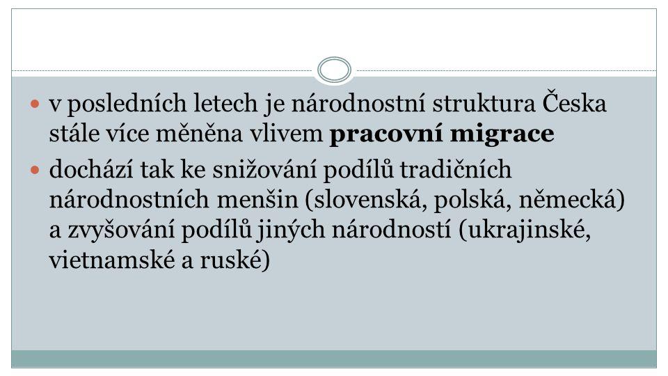 v posledních letech je národnostní struktura Česka stále více měněna vlivem pracovní migrace