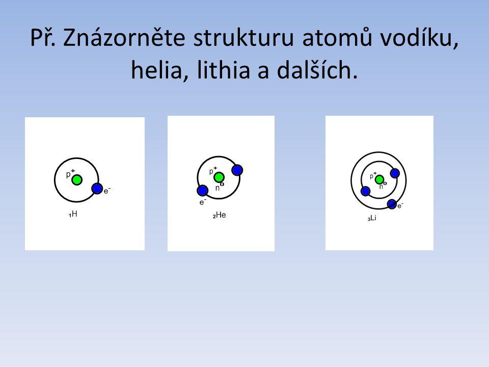 Př. Znázorněte strukturu atomů vodíku, helia, lithia a dalších.