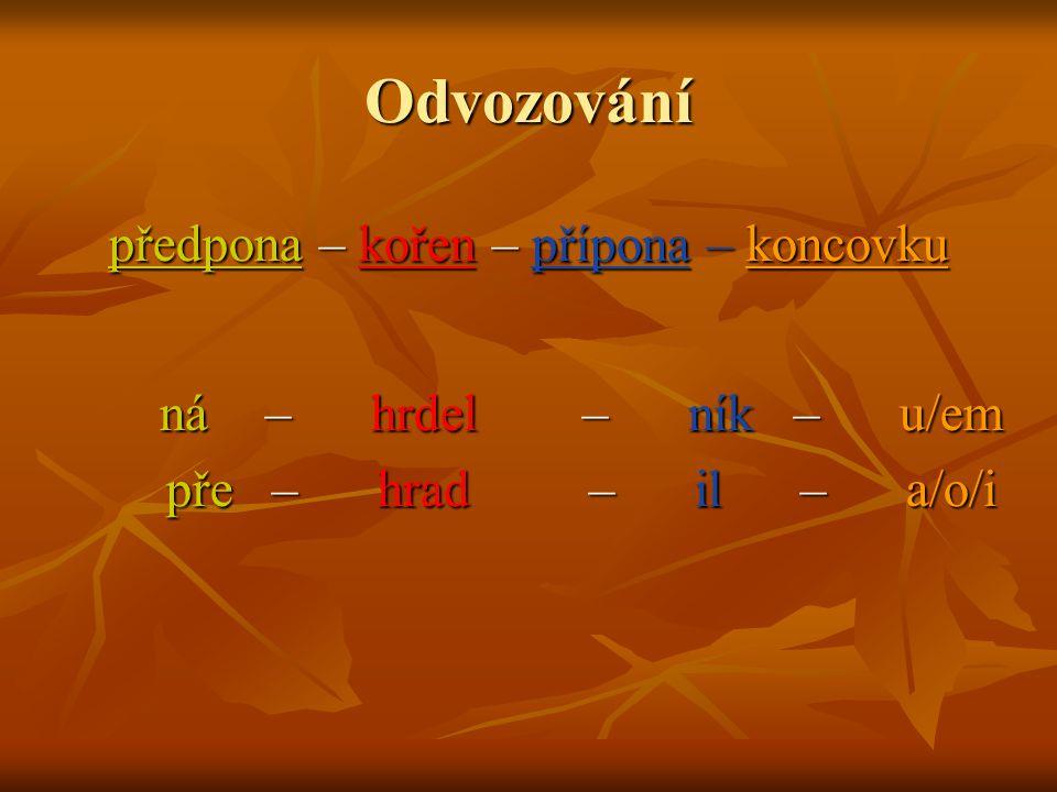 předpona – kořen – přípona – koncovku