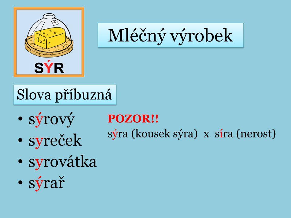 Mléčný výrobek sýrový syreček syrovátka sýrař Slova příbuzná
