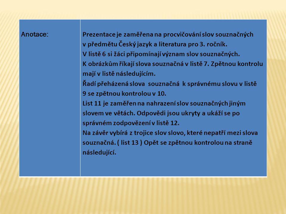 Anotace: Prezentace je zaměřena na procvičování slov souznačných. v předmětu Český jazyk a literatura pro 3. ročník.
