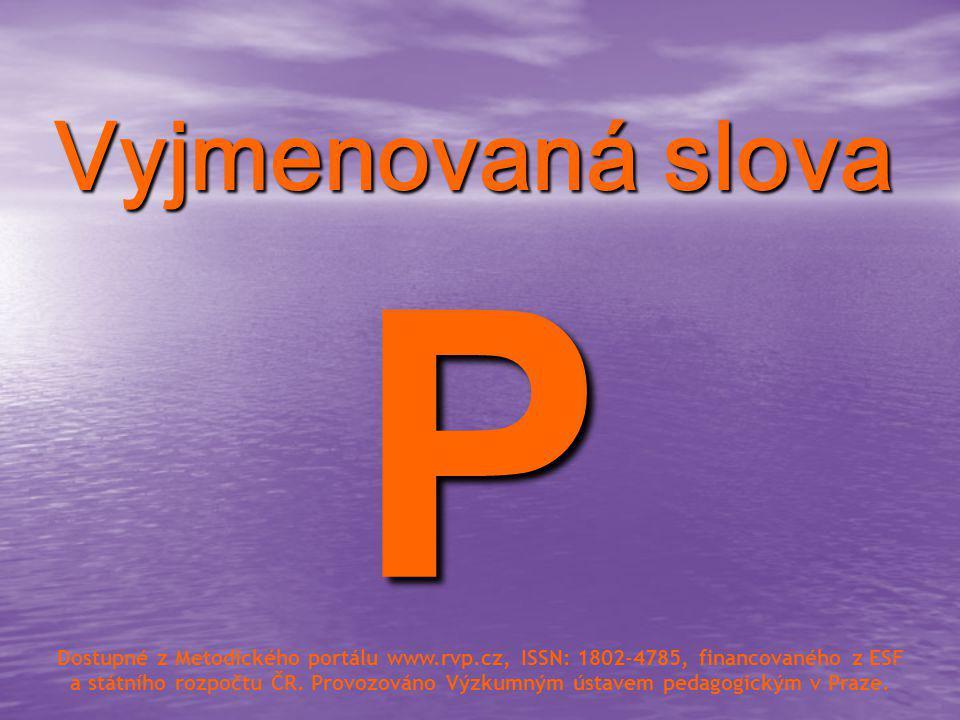 Vyjmenovaná slova P.