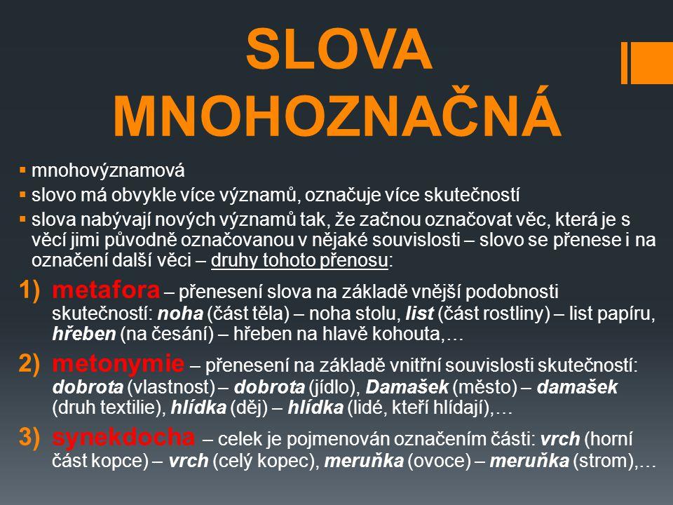 SLOVA MNOHOZNAČNÁ mnohovýznamová. slovo má obvykle více významů, označuje více skutečností.