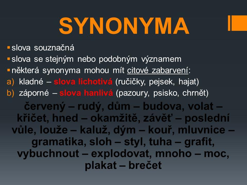 SYNONYMA slova souznačná. slova se stejným nebo podobným významem. některá synonyma mohou mít citové zabarvení: