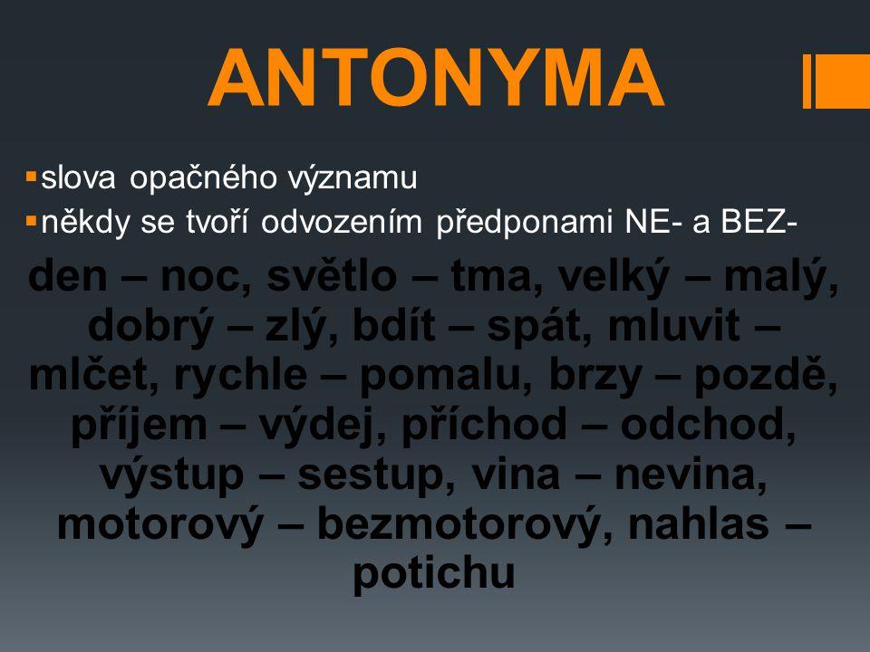 ANTONYMA slova opačného významu. někdy se tvoří odvozením předponami NE- a BEZ-