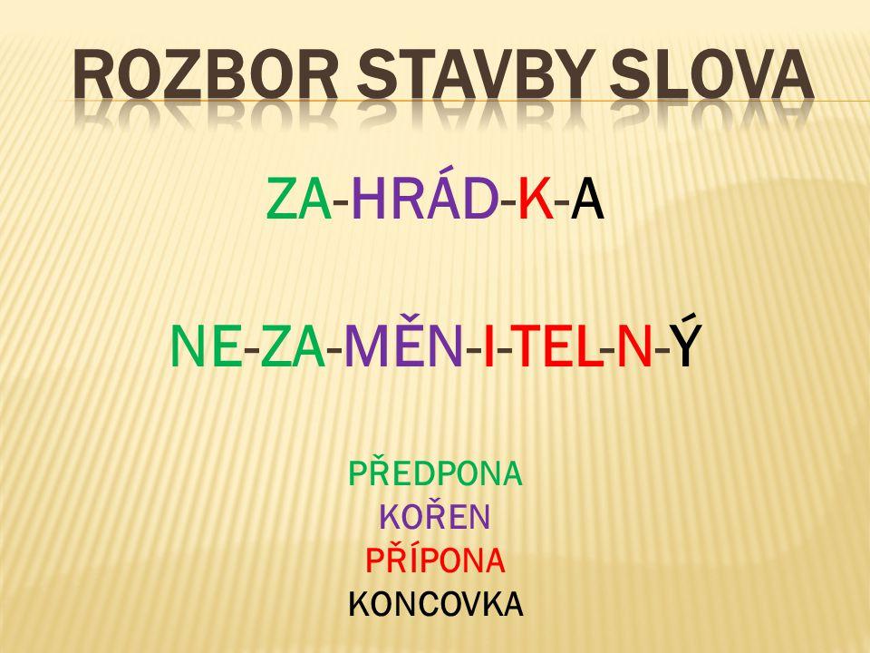ROZBOR STAVBY SLOVA ZA-HRÁD-K-A NE-ZA-MĚN-I-TEL-N-Ý PŘEDPONA KOŘEN