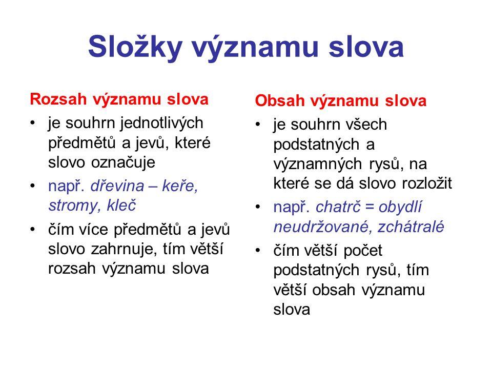 Složky významu slova Rozsah významu slova Obsah významu slova