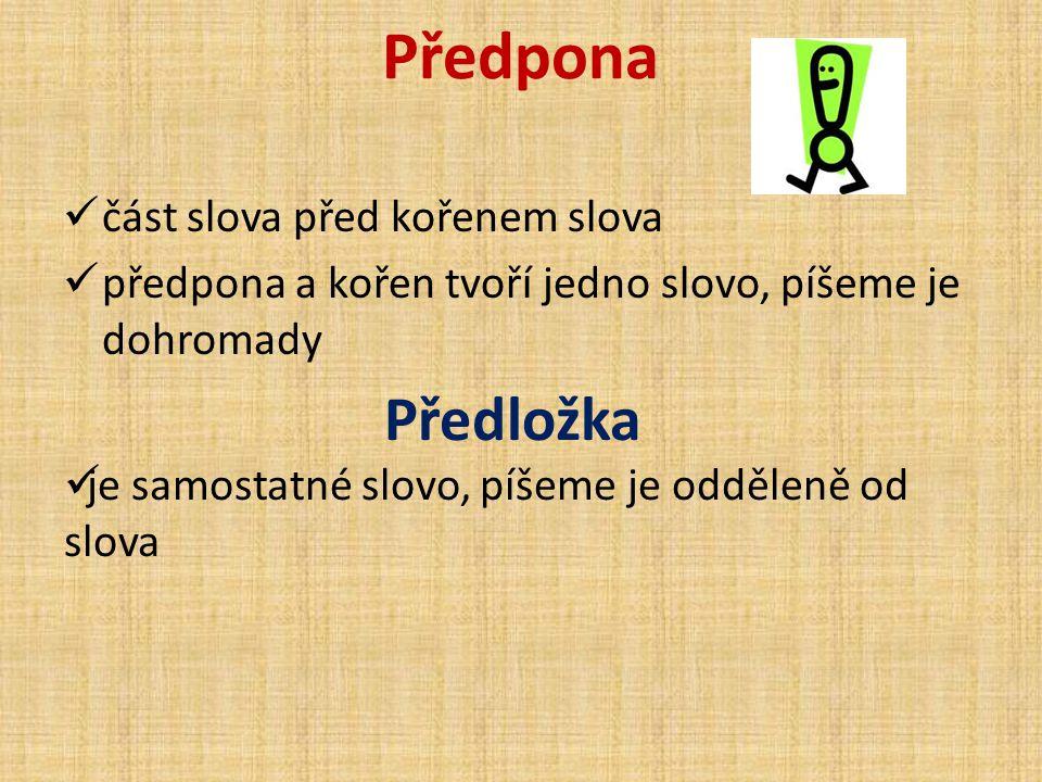 Předpona Předložka část slova před kořenem slova