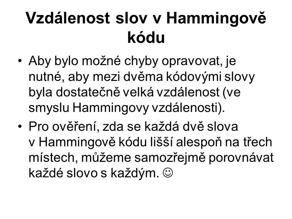 Vzdálenost slov v Hammingově kódu