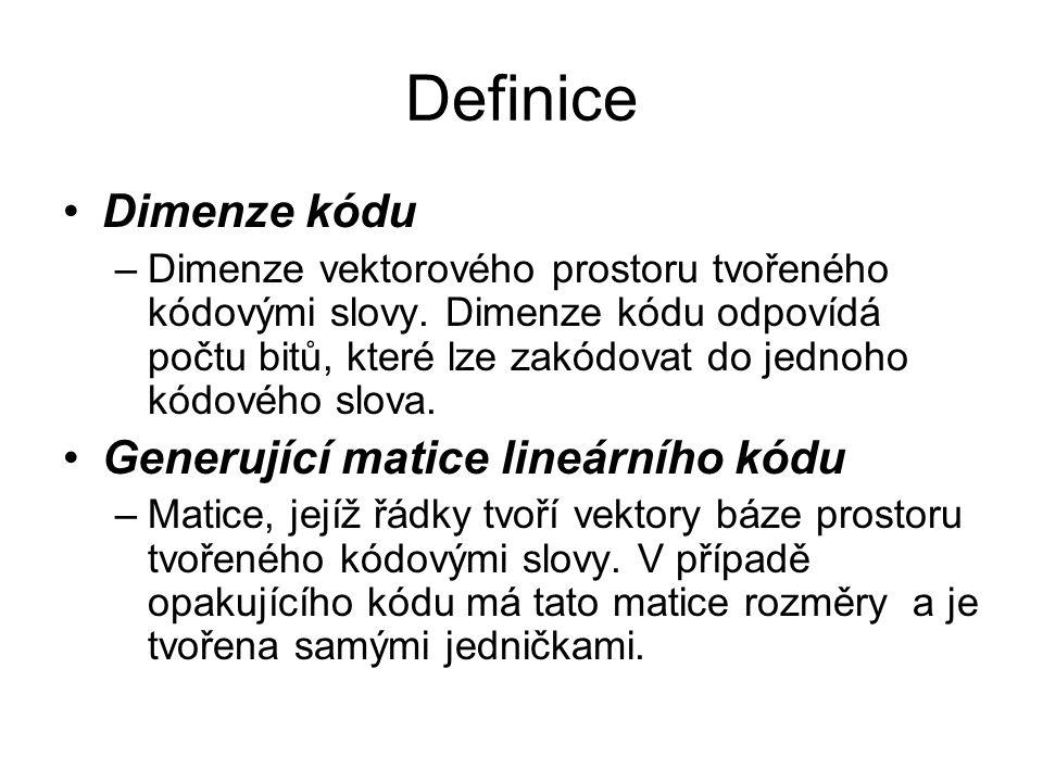 Definice Dimenze kódu Generující matice lineárního kódu