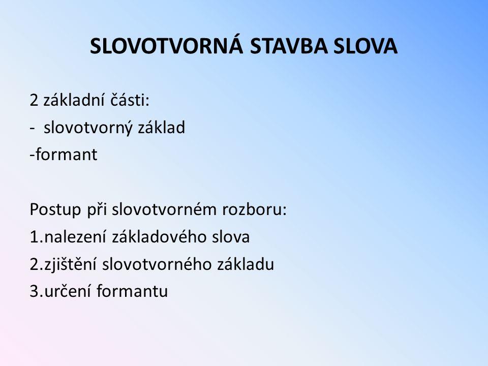 SLOVOTVORNÁ STAVBA SLOVA
