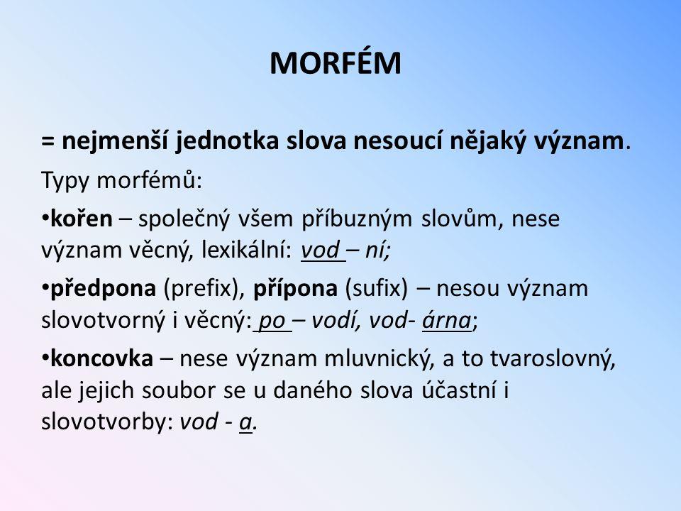 MORFÉM = nejmenší jednotka slova nesoucí nějaký význam. Typy morfémů: