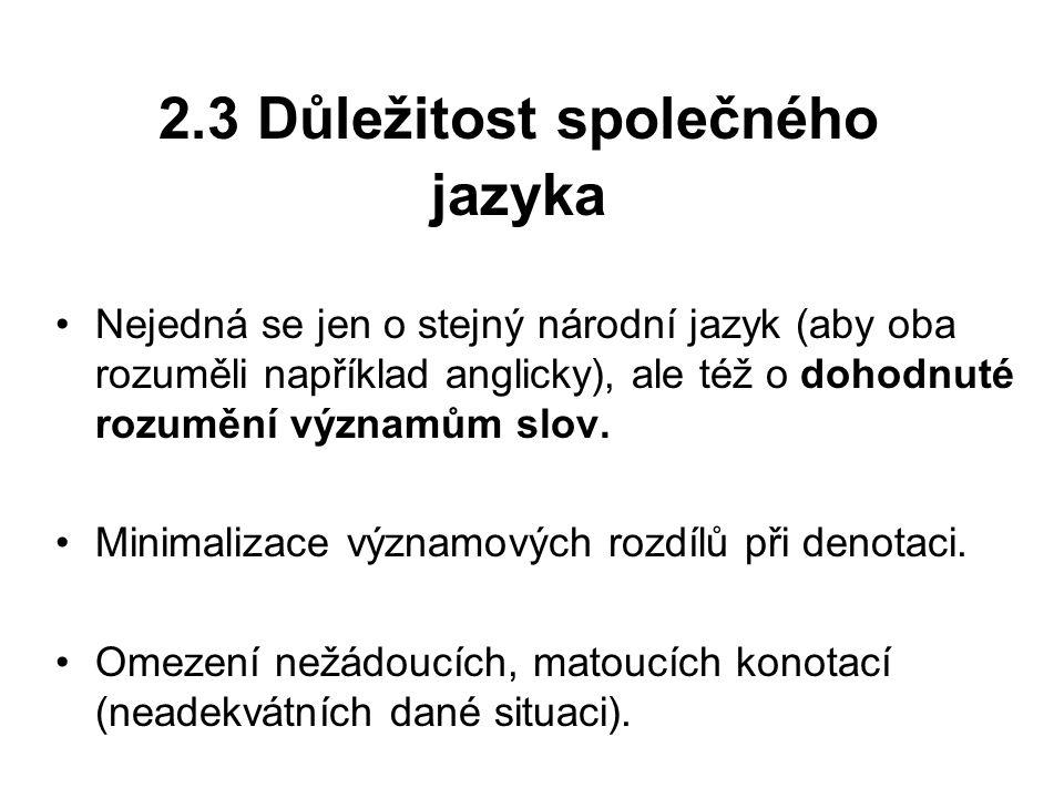 2.3 Důležitost společného jazyka