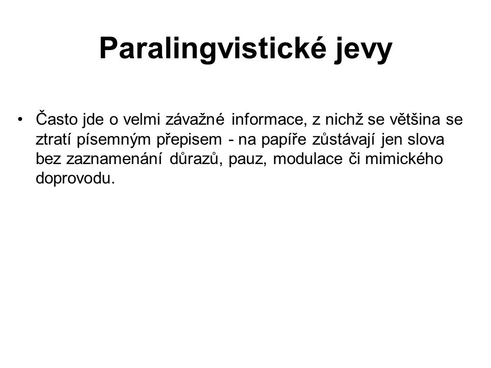 Paralingvistické jevy