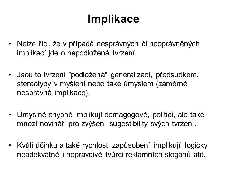 Implikace Nelze říci, že v případě nesprávných či neoprávněných implikací jde o nepodložená tvrzení.